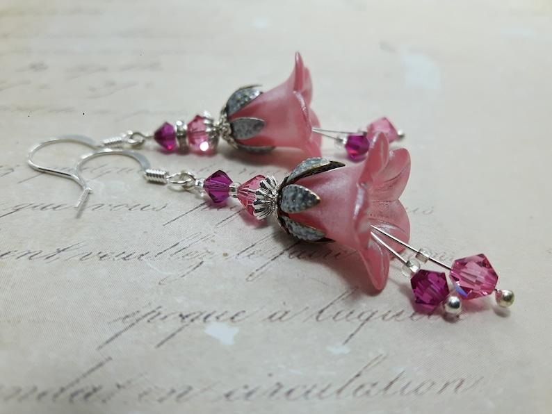 Pink Flower Earrings*Pink Vintage Floral Earrings*Bohemian Earrings*Dangle Drop Earrings*Fairy Flower*Gift For Her*Pink Art Nouveau Earrings
