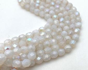 Vintage White Satin Beads 8mm Faceted Oblong Shape Sparkly 50 Pcs.