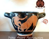 Reproduction of red figure penthouse Skyphos vase. Height 13 cm