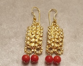 Gold wet brass earrings with pair of red pearls