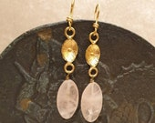 Gold wet brass earrings with pink quartz drop pendant