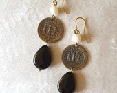 Handmade earrings in burnished brass.  Pendant depicting the reverse of a coin of Diocletian and stone in onyx