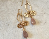 Gold wet beaten copper earrings, with double spiral pattern and pink stone drop pendant
