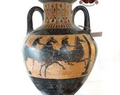 Reproduction of Panathenaic Amphora vase. Height 39.5 cm. Made with the same ancient techniques