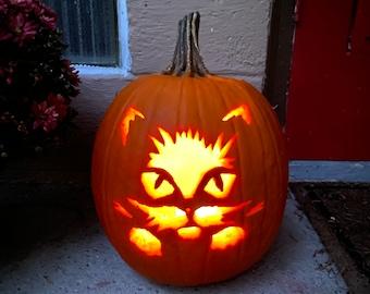 Cat On Pumpkin Etsy