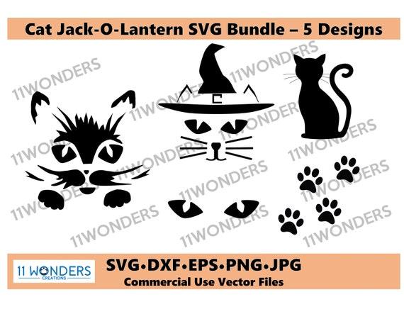 Cat Jack-O-lantern SVG Bundle  Cat Pumpkin Carving SVG Bundle