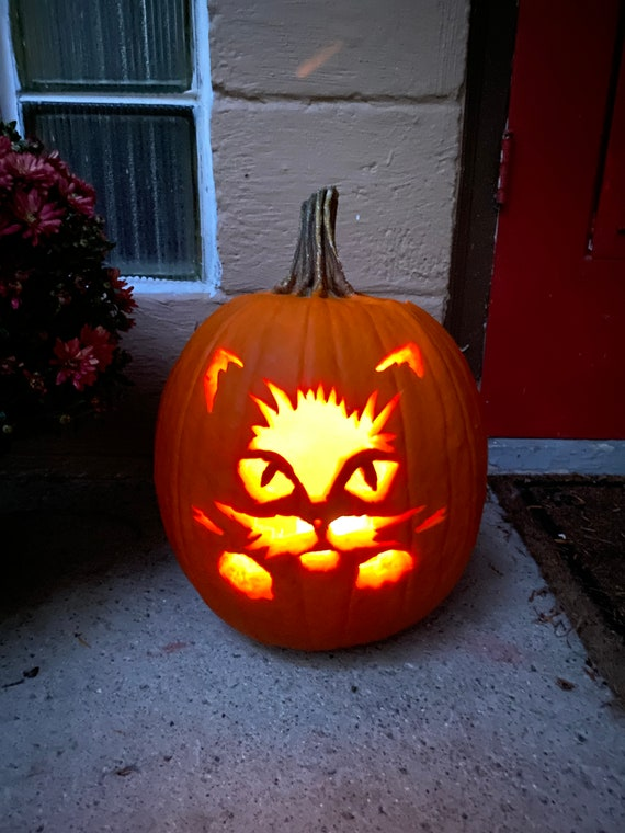 Cat Face Jack-O-lantern SVG  Cat Pumpkin Carving SVG Cat