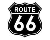 Route 66 vinyl die cut decal - Solid (various sizes and colors)