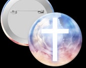 Watercolor cross pinback button 2.25in