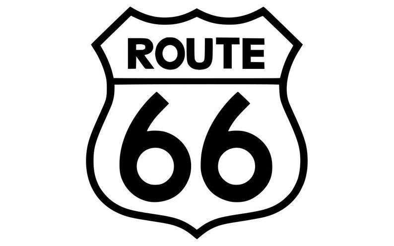 Route 66 vinyl die cut decal  Outline various sizes image 0