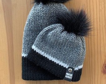 Grey & Black Knit Beanie | Matching Family Beanies | Infant Beanie | Toddler Hat | Adult Hat | Grey and Black Beanie | Baby Shower Gift
