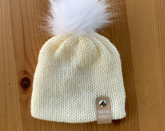 Beanies for Newborns | Baby Girl Beanies| Beanie with Faux Fur Pom Pom | Infant Beanie | Knit Hat for Baby | Baby Shower Gift