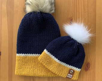 Navy and Gold Knit Beanie | Family Matching Beanies | Knitted hats | Infant Hat | Toddler Hat | Adult Hat | Baby Shower Gift