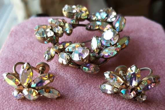 Sherman Rhinestone Brooch and Earring Set