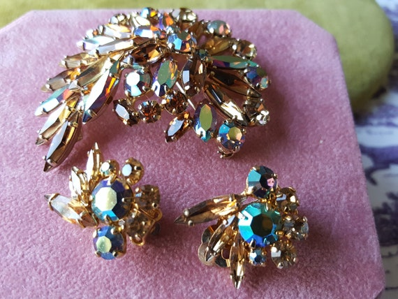 Rhinestone Brooch and Earring Set
