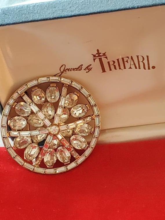 1950's Trifari Domed Rhinestone Sphere Brooch, Pin