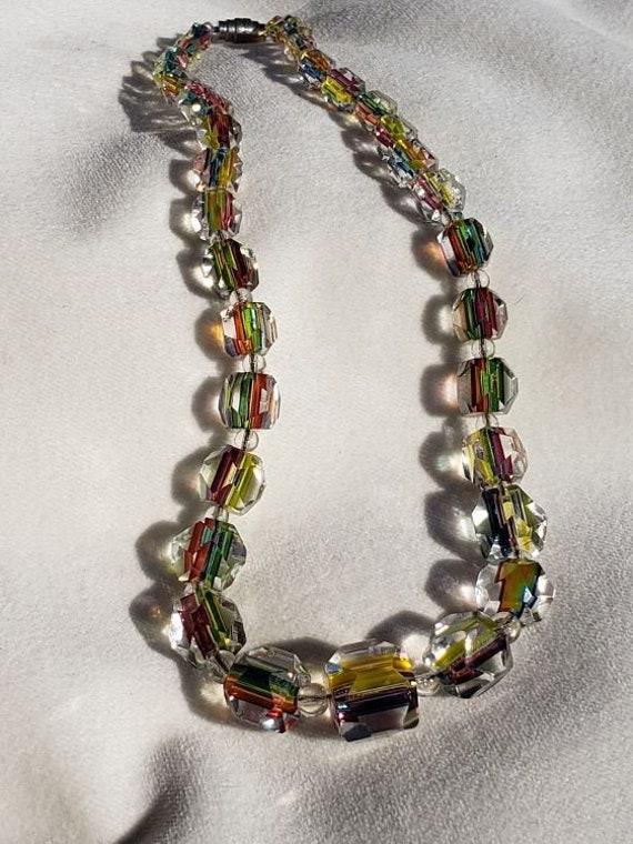 Rare Art Deco Iris Rainbow Glass Necklace, with Gr