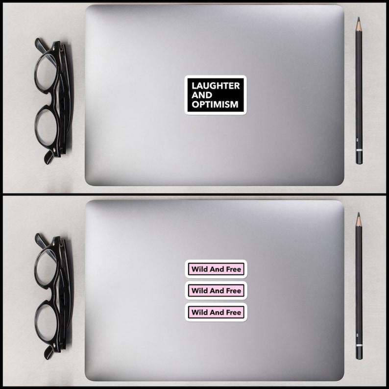 Laptop Sticker   Custom Text Sticker Square Box Logo Stickers Custom Vinyl Decals Cute Personalized Vinyl Waterproof Glossy Decals