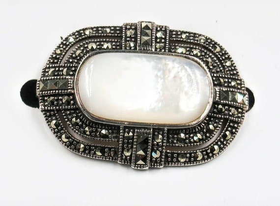 Antique Sterling Silver Marcasite and Mother of Pe