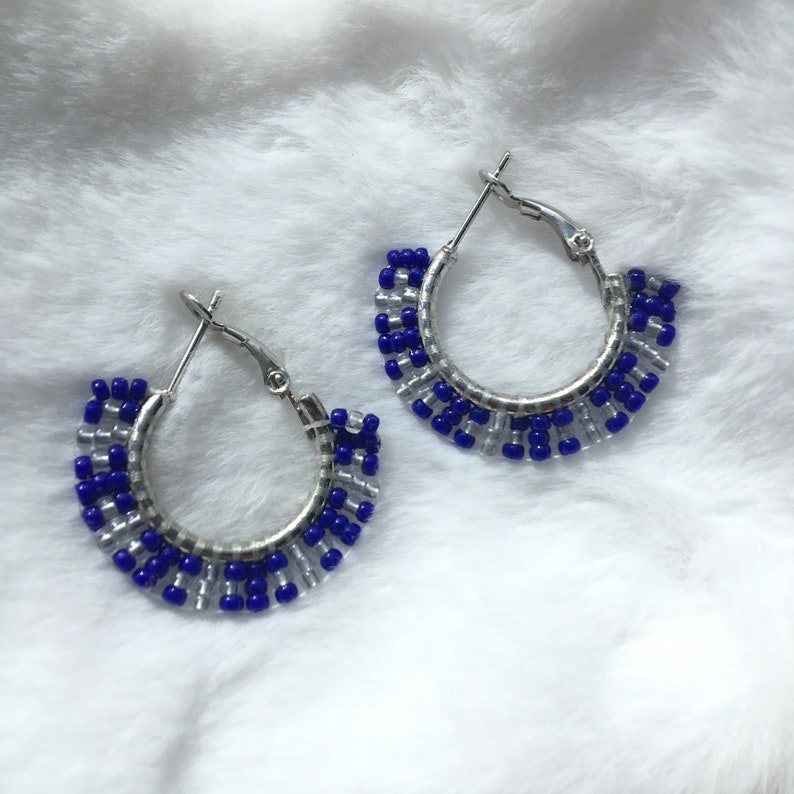 Handmade Beaded Hoop Earrings Seed Beaded Jewelry Blue And Silver Colours Leaver Backing