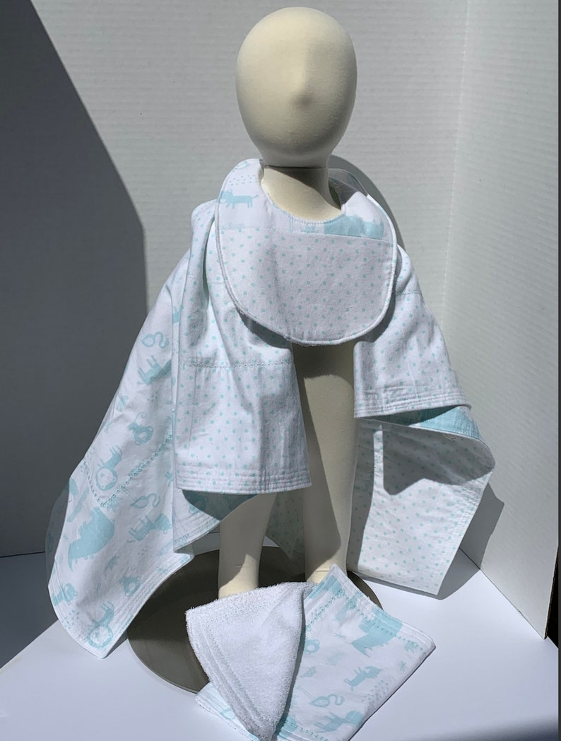 Burp Cloth Baby blue and white zoo print  Bib Baby Blanket Set Wild Animal Print