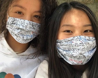 CALCULUS NOTES Single Premium Face Mask Cough Catcher Tight Weave Cotton 2ply soft ear elastic
