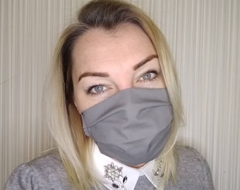 CHARCOAL Organic Cotton Face Mask Cough Catcher 2ply soft ear elastic