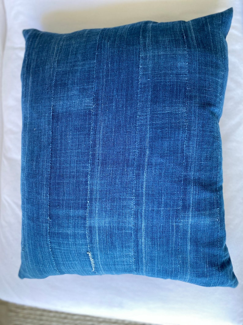 African Burkina Faso Down and Feather Fill Included Vintage Indigo Mud Cloth Textile Pillow