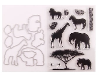 Owl Elephant Frog and Lion Rubber Stamp Set from Recollections