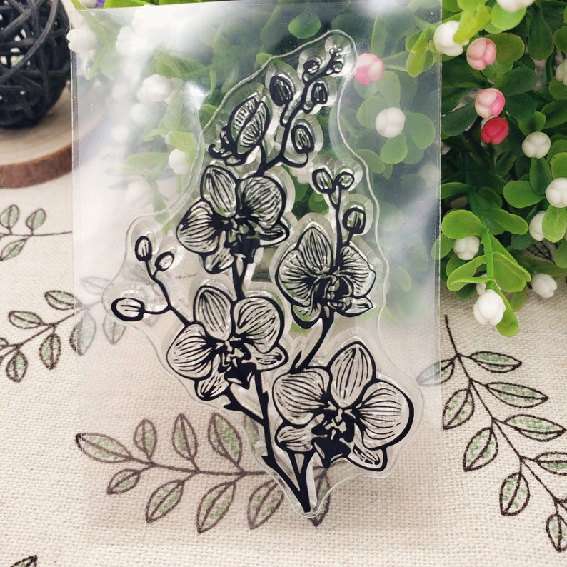 butterfly orchid clear stamp flower transparent clear stamp orchid rubber stamp flower clear stamp  stationery stamp