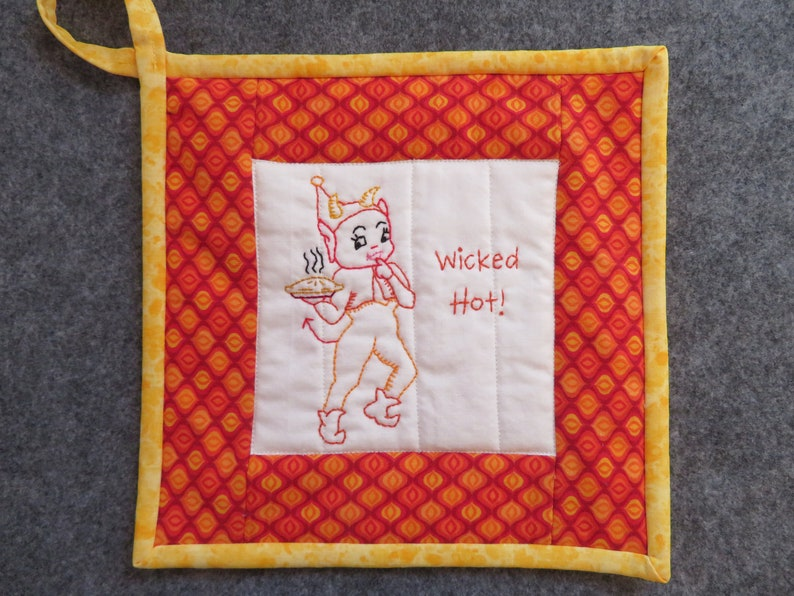 Retro Funny Hand-Embroidered Potholder--Wicked Hot--Little Devil With Pie