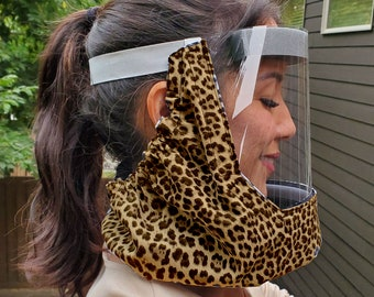 Multi sized Shieldkerchief Face cover Face shield with fan Scarf Fabric around neck Face protector Face shield with cotton fabric: Leopard