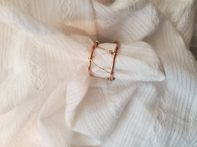 Handmade in Hawaii sustainably and ethically 14k Gold filled genuine pearl and genuine pyrite wire wrapped statement ring size 5 12 to 6