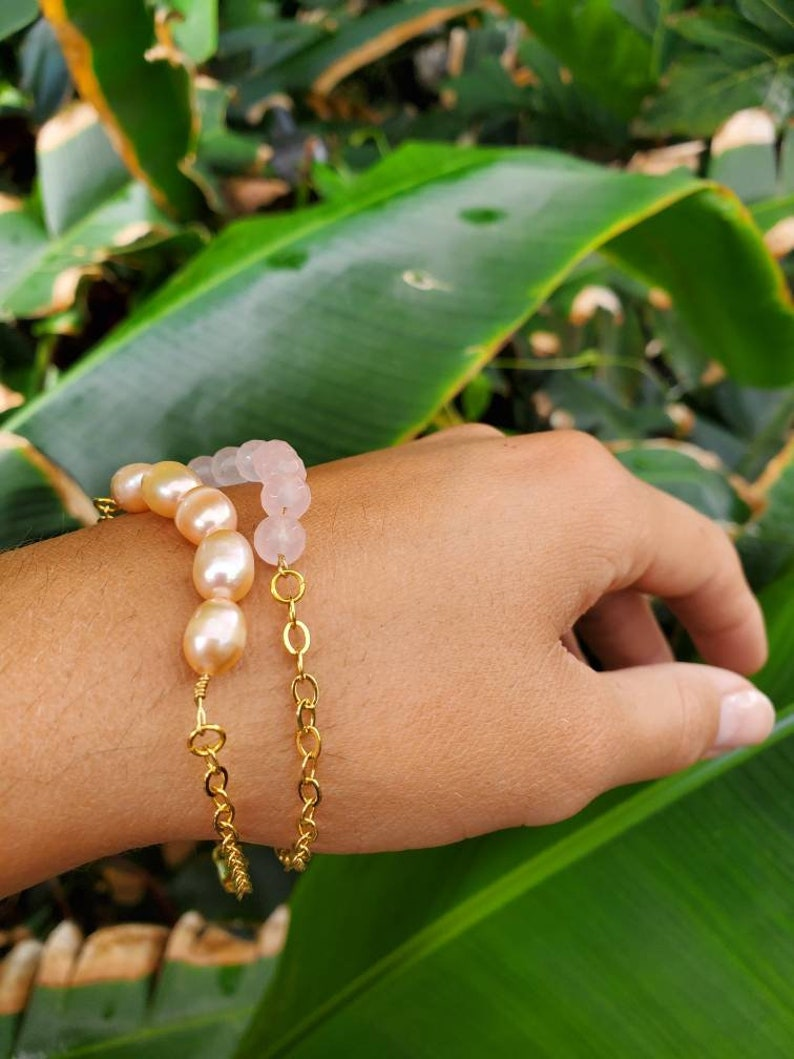 pearl bracelet is sold out Handmade in Hawaii sustainably and ethically 14k gold filled chain  and rose quartz layering gemstone bracelet