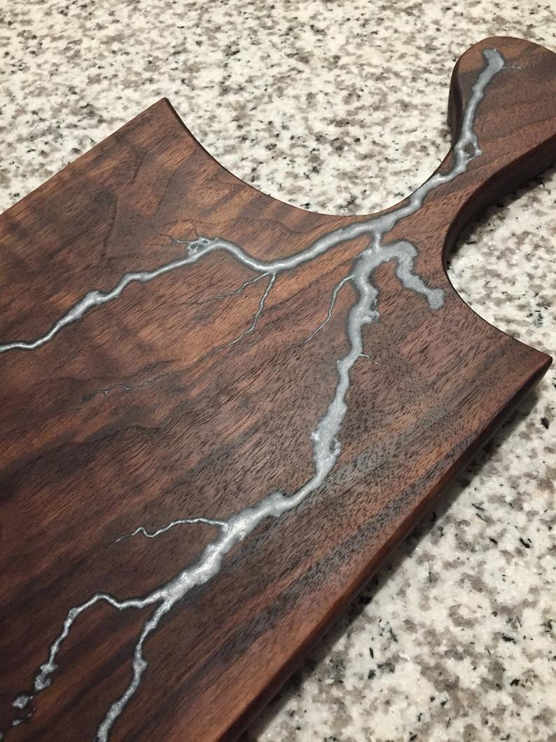 cheese board serving board with winter silver lightning Walnut charcuterie board