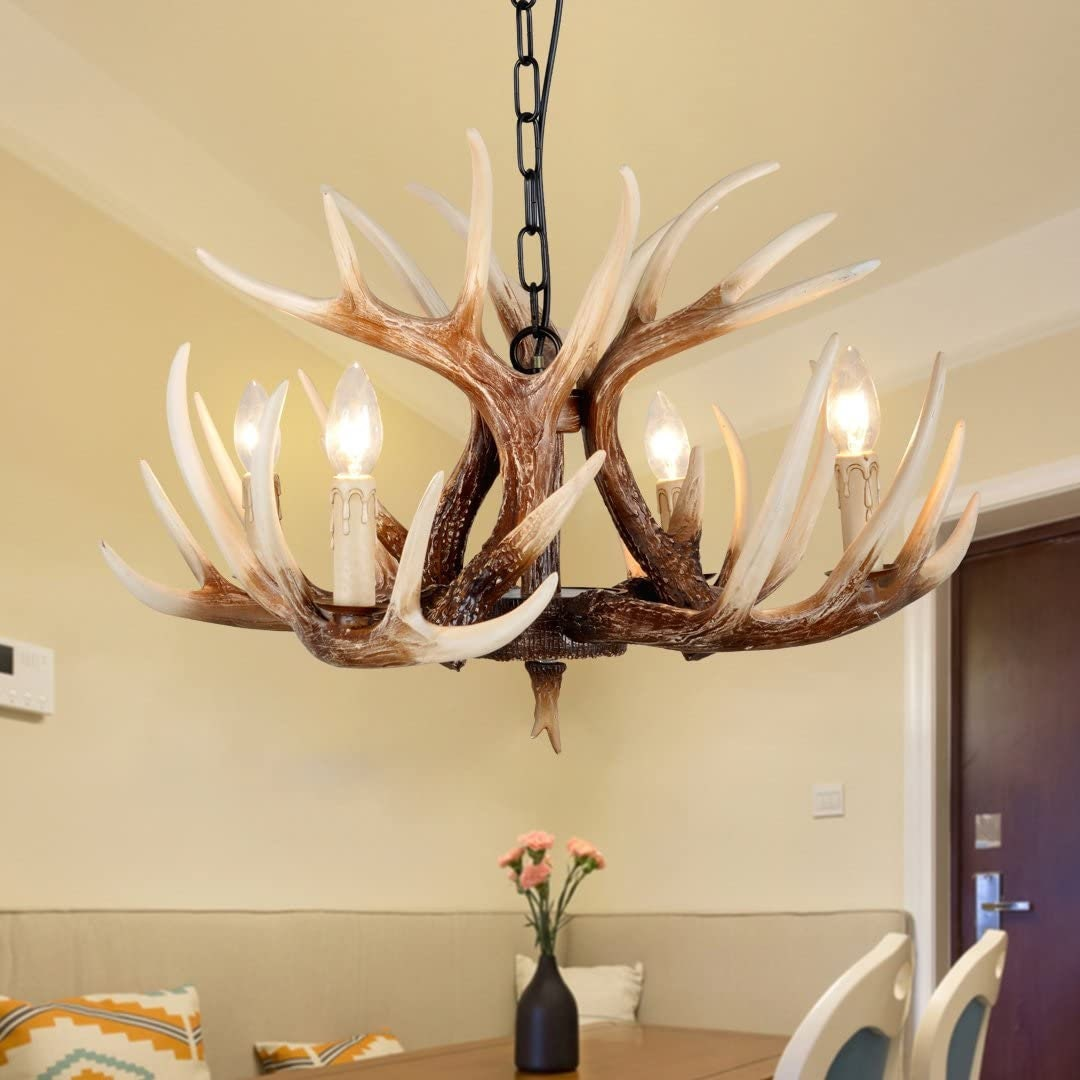 """Rustic Style Antler Chandelier 4 Light 24.5"""" Diameter X 15.75"""" Tall Hand-Stained and Antiqued each Antler for Dining room Home Decorations"""