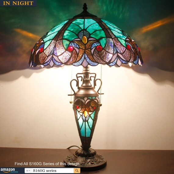 Handmade Stained Glass Lamp 3 Light W16 H24 Inch Tiffany Style Green Liaison Table Night Light for Living Room Bedroom Home Decoration