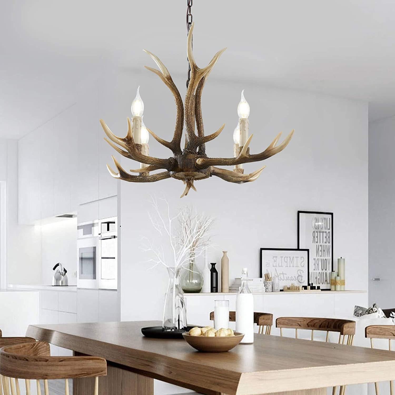 Handcrafted 4 Light Antler Chandelier, Rustic Deer Resin Antler Chandelier Lighting for Living Room,Dining Room,Brown