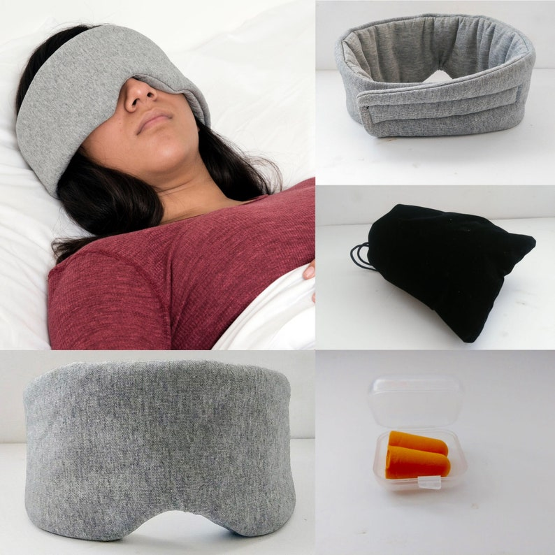 100/% Handmade Cotton Sleep Mask Blackout-Comfortable and Breathable Eye Mask for Sleeping Adjustable Blindfold wTravel Pouch and ear plug