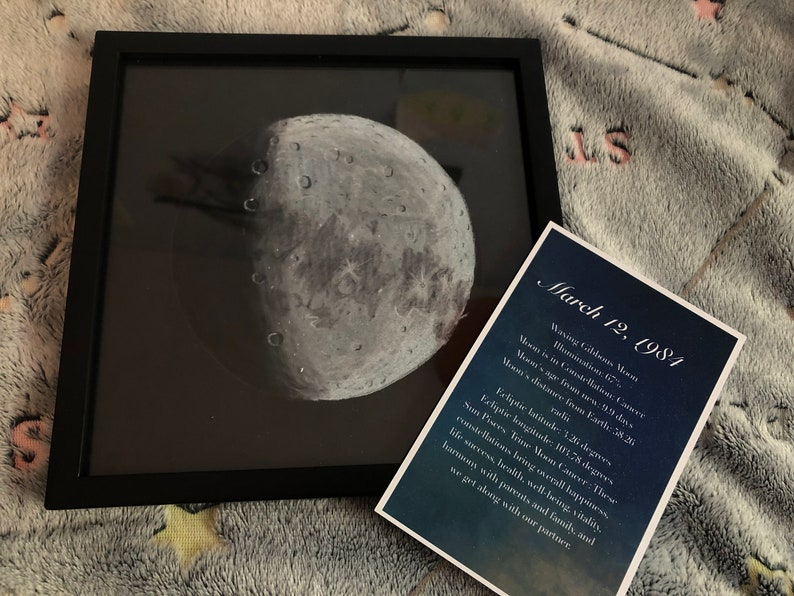 8X8: Custom Moon drawing for Birthdays Anniversary image 0