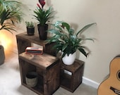 Rustic Nest of Tables Handmade Unique Solid Wood Country Farmhouse Style Side Lamp Table Tudor OAK Dark Oak Walnut