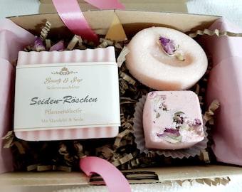 Wellness Box Rose, Soap, Sugar Scrub, Bath Cube