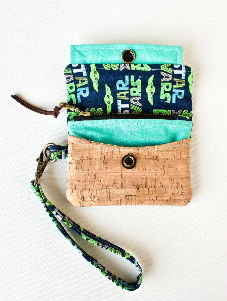 Cork Wallet Minimalist Wallet Small Wallet Star Wars Wallet Wristlet Disney Wallet Baby Yoda Wallet