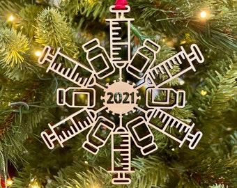 2021 Covid Vaccine Snowflake Christmas Ornament   Laser Cut Wood Coronavirus Vaccine   White Elephant, Ornament Exchange, Secret Santa Gift