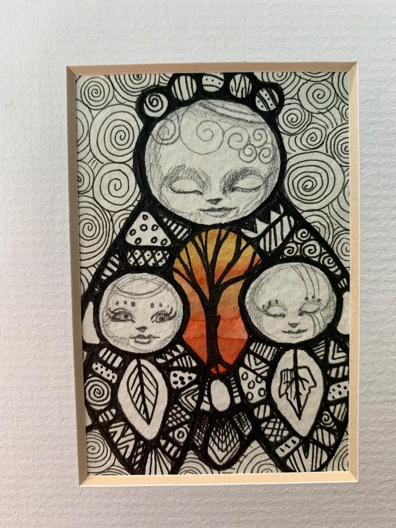 Oshka family and heart tree double mini