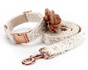 Floral Lace Dog Collar - Matching Leash & Collar - Formal Wedding Dog Collar