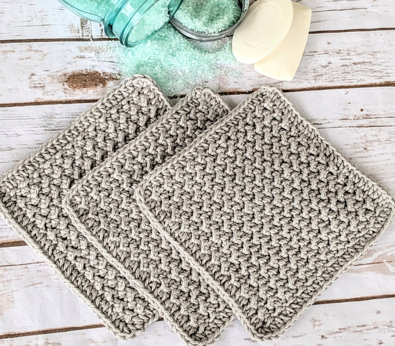 Set of 3 100% Cotton Washcloth handmade washcloth Crochet/ image 0