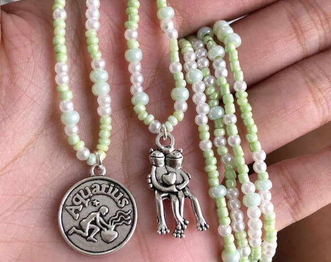 Sage Green & White Beaded Necklace w/ Froggy Pendant
