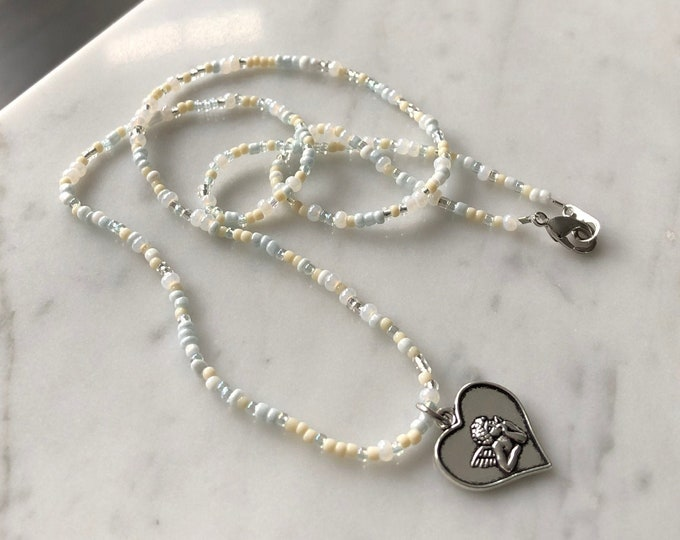 Heavenly Beaded Necklace w/ Angel Pendant
