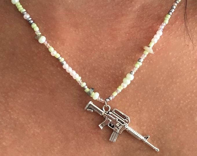 Beaded w/ Gray Labradorite Crystals, Sage Green Necklace w/ Gun Pendant